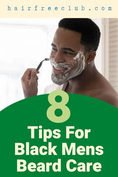 Here are 8 tips for black men's beard care - tips, tricks, and 5 best products. Grooming a naturally coarse and curly African American beard is, in fact, difficult so some just let it grow. Take a look at the list of tips in this pin and ace that beard care routine! #beardcaretips