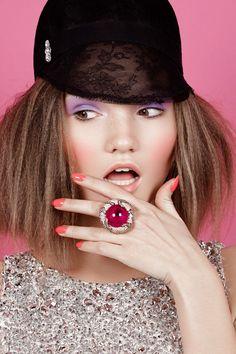 Helene Desmettre & Lidia Kochetkova by Michelle du Xuan for Fashion Gone Rogue --- Top & Hat Azzaro, Ring Grisogono