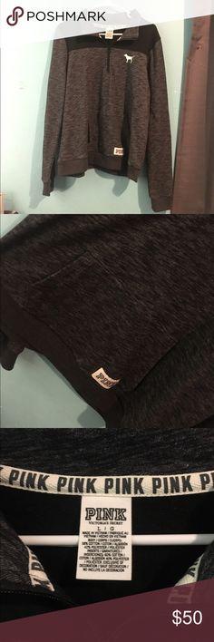 Pink vs High low half zip Grey black High low half zip. i've worn it once but i don't like the pocket. will consider reasonable offers. PINK Victoria's Secret Tops Sweatshirts & Hoodies