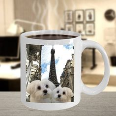 Pictures of Maltese Dogs in Paris Mugs Maltese Dogs, Dogs And Puppies, Puppy Pictures, Paris, Mugs, Gifts, Etsy, Dog Photos, Montmartre Paris