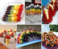 """Fruit kabobs"" Love the idea of slicing strawberries across bottoms and filling them, also the rainbow effect is very pretty"
