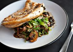 Chicken Breasts with Mushrooms and Wilted Frisée - Bon Appétit