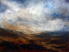 Remote, constantly An early painting by British landscape artist Sue Lawson. Oil on board