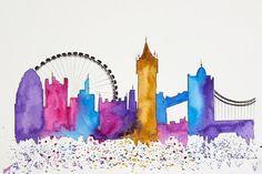 Original London Skyline Watercolor painting by NiksPaintGallery