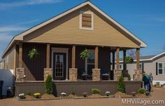 Double wide manufactured home covered porch idea