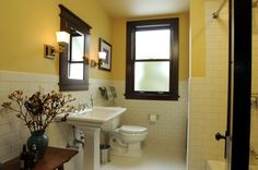 Bathroom remodel ideas: love the subway tile walls, hex floor tile, pedestal sink, and craftsman style medicine cabinet