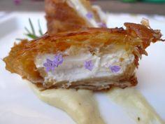 Crujiente de queso de cabra con mermelada de naranja y pasta philo