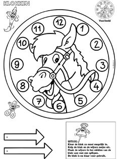 paardenklok Telling Time Games, Clock Face Printable, Diy For Kids, Crafts For Kids, Coloring Books, Coloring Pages, Horse Games, Basic Math, Cowboy And Cowgirl