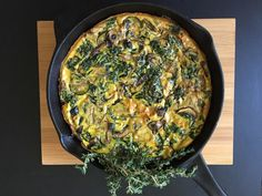 Cast Iron Vegetable Frittata with Thyme and Asiago Cheese