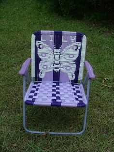 Comfy Oversized Chair With Ottoman Macrame Art, Macrame Projects, Weaving Art, Loom Weaving, Lawn Chairs, Outdoor Chairs, Macrame Chairs, Woven Chair, Patterned Chair