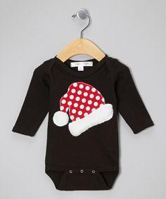 Love this mini scraps Black Santa Hat Bodysuit - Infant by mini scraps on #zulily! #zulilyfinds