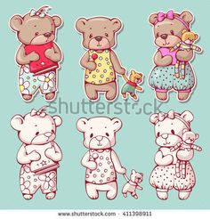 Illustration about Vector set of funny cartoon bears, isolated from a background. Monochrome and color version. Illustration of character, animal, comic - 70431639 Bear Cartoon, Cute Teddy Bears, Photoshop, Christmas Cross, Silhouette Projects, Hello Kitty, How To Draw Hands, Cross Stitch, Super Cute
