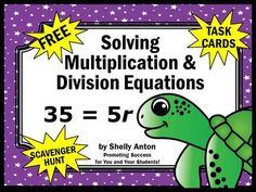 FREE Algebra Solving Multiplication and Division Equations Math Activities Games Task Cards from Promoting Success on TeachersNotebook.com -  (8 pages)  - FREE!!! Algebra Solving Multiplication and Division Equations Math Activities Games Task Cards