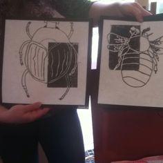Printmaking 5th grade (gives me a positive/negative idea!)