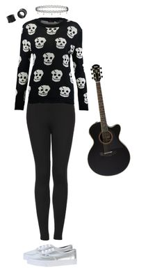 """""""094. youtube cover channel; everlong- foo fighters"""" by hiimmichelle on Polyvore featuring Topshop, Vans and Yamaha"""