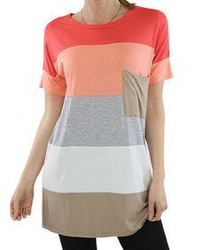 cef392bdaa6 Coral & Beige Color Block Tunic Modern Colors, Beige Color, Soft Fabrics,  Wholesale