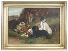 "Sale D060815 Lot 350  Howland Hardy (British, 19th Century) - Three gundogs with the day's bag, signed lower right ""Howland Hardy"", oil on canvas, 49 x 69 cm  - Cheffins"