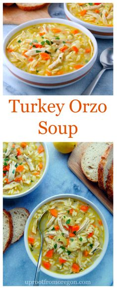 Turkey Orzo Soup a winter warming bowl of flavorful broth aromatic vegetables shredded turkey breast and orzo pasta Top it with fresh lemon juice and parsley for some zip. Healthy Recipes, Chili Recipes, Soup Recipes, Cooking Recipes, Sausage Recipes, Pasta Recipes, Yummy Recipes, Recipies, Leftovers Recipes