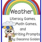 """This packet of weather games and activities includes: *Cloud craft/writing activity*2 writing prompts*Sight word game using the Dolch .....***{{Designed for K kids integrates all subjects. Teach """"Weather"""" Unit in March.}}****"""