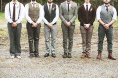 Mismatched Groomsmen... minus the skinny pants.  Love that some are wearing vests.