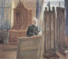 Anna Ancher: Michael Ancher, in his studio painting