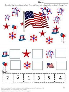 DEVELOPING MATH SKILLS WITH RED, WHITE AND BLUE- P-K,K,SPECIAL ED, AUTISM - TeachersPayTeachers.com