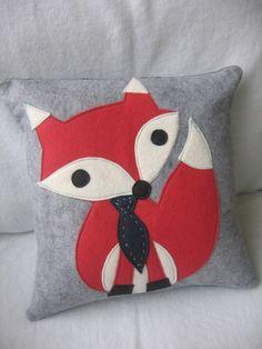 Felt Fox Pillow Cover & Insert by maureencracknell on Etsy, $38.00