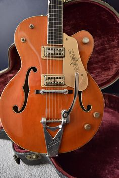 [IMG] [IMG] [IMG] Crazy clean 1960 Gretsch 6120 from a batch favored by Brian Setzer himself! Guitar Pics, Jazz Guitar, Guitar Amp, Cool Guitar, Fender Stratocaster, Fender Guitars, Gretsch, Epiphone, Triumph Street Twin