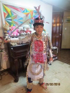 Recycled paper to form a samurai costume