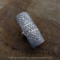 BOHO 925 Silver Ring-Gypsy Hippie Ring,Bohemian style,Statement Ring R075 JewelryBOHO,Handmade sterling silver BOHO Tribal printed ring