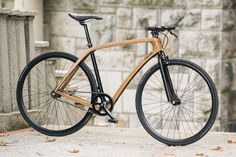 The new Tratar Bikes city wooden bicycle pictured at Bled, Slovenia