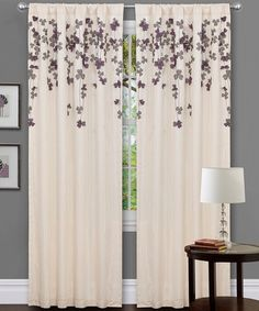 Ivory & Purple Flower Drop Curtain Panel