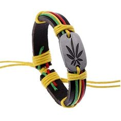 Summer Style Reggae Punk Leaf Leather Charm Bracelets Fashion Men Jewelry Hip Hop Vintage Bracelets&Bangles