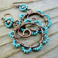 Bead Dance - wire wrapped antiqued copper hoops with beaded petals in Aqua