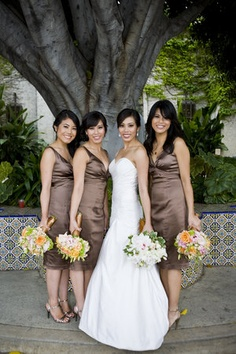 Flowers, Pink, Orange, Brown, Bridesmaids, Yellow, Portrait, Formal