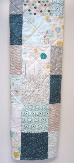Baby Quilt-Gender Neutral-Traditional Patchwork Crib Bedding-Teal-Gray-Grey-Mint Green-Modern Fabric-Rabbit-Bunny Baby Blanket