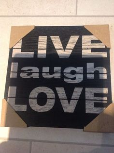 WOOD LIVE LAUGH LOVE WALL ART HANGING SAYING WORDS BLACK WHITE SENTIMENTS