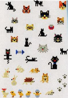 Cats, bunnies, animals. Stitched. Embroidered.
