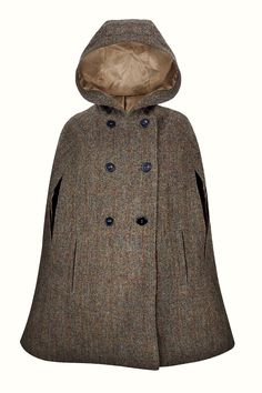 Hepburn Earth Hooded - Luxuriously crafted in a classic brown & green Harris Tweed, this timeless cape embodies the country chic lifestyle and offers an elegant replacement to your classic cool weather jacket. With its large, slouched hood, this cape will be the perfect choice for outerwear all year around. Capes For Women, Harris Tweed, Fashion Line, Country Chic, Stylish Outfits, Vintage Inspired, Hoods, Fur Coat, Raincoat