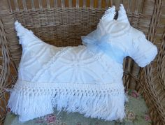 Vintage Chenille Bedspread Westie Scottie Dog by AllCreaturesWild
