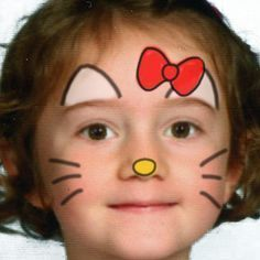 simple face and body painting for kids Hello Kitty Face Paint, Hello Kitty Makeup, Hello Kitty Costume, Girl Face Painting, Body Painting, Simple Face Painting, Face Paintings, Maquillage Hello Kitty, Easy Face Painting Designs