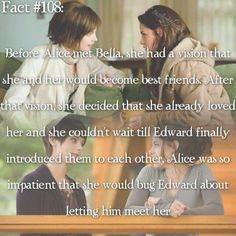 Bella and Alice. This was my favorite relationship in the twilight saga Twilight Saga Quotes, Twilight Jokes, Twilight Cast, Twilight New Moon, Twilight Pictures, Twilight Series, Twilight Movie, Rosalie Twilight, Movie Facts