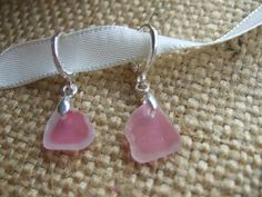 Pink and white sea glass earrings on sterling by TiliabytheSea