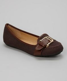 Another great find on #zulily! Brown & Gold Strap Flat by Tory Klein #zulilyfinds
