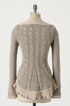Inspiration: Cabled peplum cardi, reverse stockinette sleeves, love the neckline - from Anthropologie (lol where else? xD)