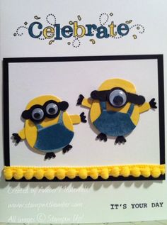 "Minions - By Amber Meulenbelt... using the Owl Builder punch, Jewelry Tag punch, and 1/2"" Circle punch... add Googly eyes! So CUTE!"