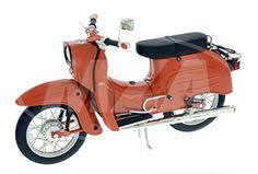 Schuco-Miniaturmodell Simson Schwalbe KR51/1, rot-orange - Maßstab 1:10 - schwar