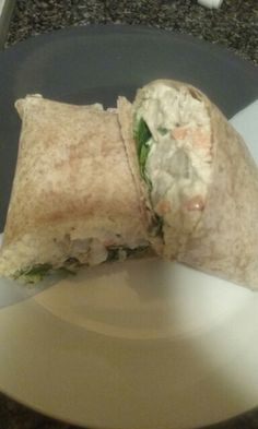 Homemade seafood salad (shrimp , crab meat, tuna , green peppers, green onions, carrots and mayo) wrap with baby spinach on a whole wheat wrap.  Smash time!!!