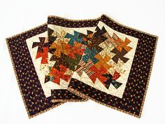 Fall Autumn Quilted Table Runner  Twister Pinwheels by Jambearies