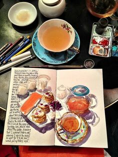 Slowing my pace over a Oolong Choc chai tea - MOLESKINE PASSION - Get creative and paint whilst your away – it& a wonderful way to relax during the afternoon - Moleskine, Watercolor Journal, Watercolor Art, Food Illustrations, Illustration Art, Arte Sketchbook, Sketchbook Layout, Sketchbook Ideas, Steel Art
